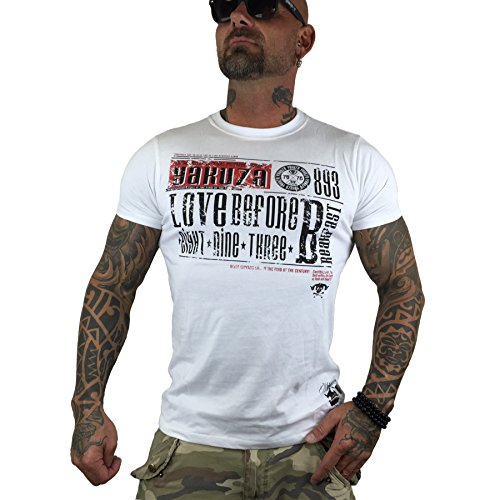 Yakuza Shirt Herren Round Neck TSB 8019 Love Before Breakfast T-Shirt weiß Weiß