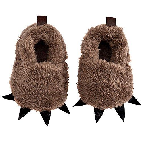 asdomo bebé novedad Monster Pinza para zapatos niños zapatos de disfraz de cosplay de dibujos animados suave Plush Furry Animal Paw Claw marrón oscuro Talla:13cm