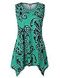 DJT FASHION Damen Sommer Ohne Arm T-Shirt Rundhals Asymmetrisch Tunika Langshirt Oberteile T69-Grün#2 2XL