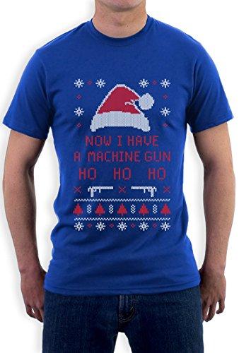"Felpa Forever Collectibles, motivo natalizio ""ora una macchina Ho Ho Ho Ho-Pistola-T-Shirt blu X-Large"