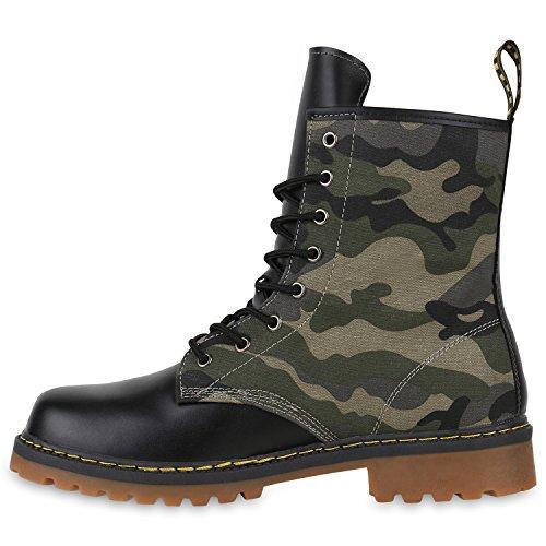 Geschnürte Herren Worker Boots Camouflage Army Look Schuhe Camouflage