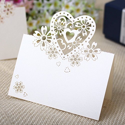 Musuntas 50Tlg Liebe Herz Laser Schnitt Namenskärtchen / Platzkarte / Namensschild / Sitzkarte / Namenskarte / Tischkarte / Tischkärtchen für Hochzeiten Feste oder Partys