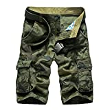 WSLCN Homme Militaire Cargo Shorts 100% Coton Camouflage...