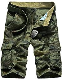 WSLCN Homme Eté Cargo Shorts Bermuda Pantacourt Vintage Shorts de Sport Outdoor Shorts sans Ceinture