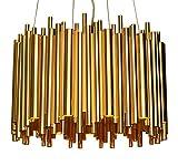 NEUERRAUM Herrschaftlicher Bauhaus Kronleuchter Stahl Röhre Goldfarben platiniert. LED Technik 8 x Down + 4 Deckenstrahler mit jeweils nur 3 Watt Brennleistung. Ø 50 cm.