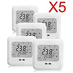 5x digital raumthermostat thermostat fu bodenheizung lcd touchscreen elektrisch temperaturregler. Black Bedroom Furniture Sets. Home Design Ideas