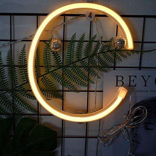Neon Buchstaben Zeichen Nacht lichter LED Alphabet Neon Art Lichter Lampe Wand Dekor Batteriebetrieben und USB Powered für Hochzeit Geburtstag Hochzeit Bar Schlafzimmer Indoor Decor (C) - Zeichen Neon-licht