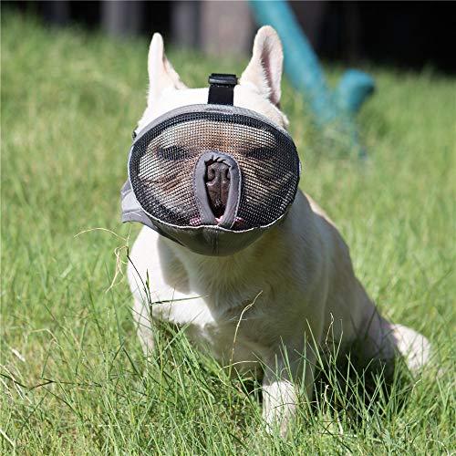 JYHY breve muso muso di cane Bulldog muzzle- regolabile in rete traspirante per mordere abbaiare masticare training Dog Mask,Gray M