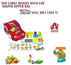 AdiChai 100 Pcs Blocks Toys Building and Construction Block Set More Bricks & Shapes, Interlockig Connection Educational Toy for Kids (Multicolor)