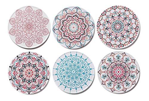 Palooza - Premium Design Mandala Untersetzer (6er Set) - Dekorative Getränkeuntersetzer für Glas, Tassen, Vasen, Kerzen auf ihrem Esstisch aus Holz, Glas oder Stein (rund | 9cm) (Mandala Set)