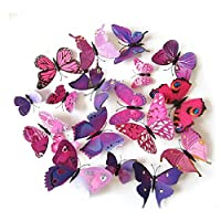 LifeJoy 12pcs 3D Simulated Butterfly Magnets Fridge Magnetic Stickers, Pink