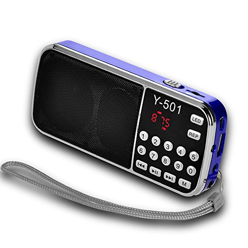 Radio FM Timorn TF de soutien Portable Card / USB Disk / MP3 / Radio FM Convient pour téléphone portable / MP3 / MP4 / MP5 / PC / ordinateur avec écran d'affichage LED et mode économie d'énergie (Y501) (Bleu)