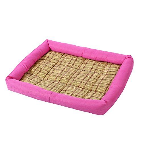 Sourcingmap® Haustier Hund Katze Raum Bambus Teppich Sommer Schlafen Kissen Matte(Fuchsie,L) DE de