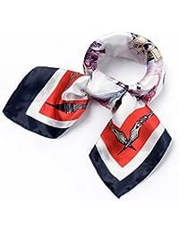 QBSM Mujer Satin Silk Formal Pañuelo de Seda Cuadrado Square Neck Bufanda Head Hair Wraps 60x60cm