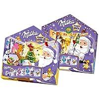 Milka Magic Mix Adventskalender – Weihnachtskalender in Hausform mit festlichem Mix aus 7 verschiedenen Milka Leckereien in zwei möglichen Designs – 204g