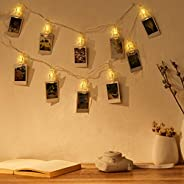 Amazon Brand - Solimo Photo Clip String Light for Decoration, Battery Powered, Warm White, 10 Clips, 1.7 Metre