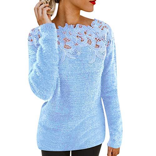 TAMALLU Damen T-Shirts Für Frauen Rundkragen Floral Gestrickte Einfarbig Lange Ärmel Shirts(Blau,XL) (Lederhosen Kostüm London)