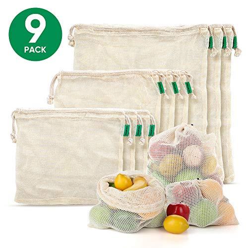 Fstoption Sacchetti riutilizzabili, Borse di Frutta e Verdura, Sacchetti di Verdure in Cotone, Cotone Organico Lavabile per la Spesa, Conservare Frutta, Verdura e Giocattoli