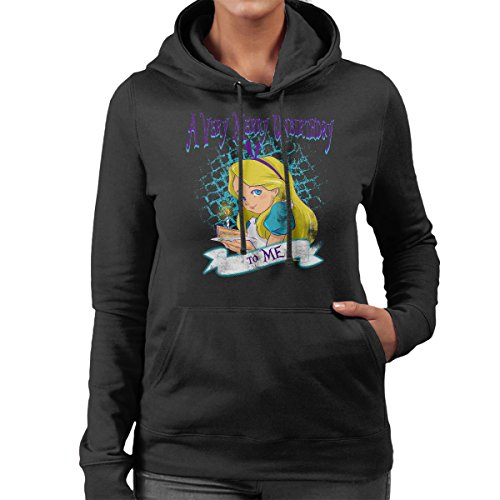 A Very Merry Unbirthday Alice In Wonderland Women's Hooded Sweatshirt Black