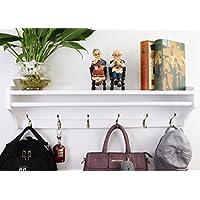 JRLinco Coat Rack Wall Solid Wooden Hanger 5 Hooks Multifunctional Bedroom Open Simple Shelf