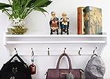 JRLinco Garderobenständer, Wandgarderobe, Kleiderhaken, Wandgarderobe, Kleiderständer, Wand Holz Kleiderbügel 6 Haken