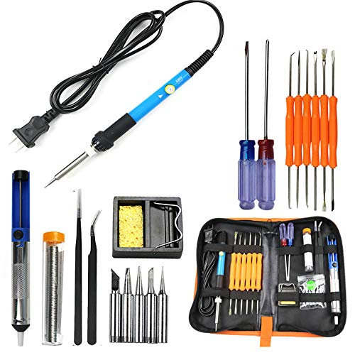 bares elektrisches Temperaturschweißen Lötkolbenwerkzeug 8 In Kit 220V - Lötkolben, 2 Pinzetten, Lötsauger, Zinndrahtrohr, Löthalter mit Reinigungsschwamm, 2 Drehschrauben ()
