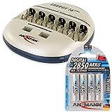 ANSMANN Energy 16 Plus Akku Ladegerät - Ladestation für AAA, AA, C, D, 9V E-Block & USB - Schnellladegerät als Pflegestation & Kapazitätstester mit Refresh Funktion - inkl. 4x Mignon AA NiMH Akkus