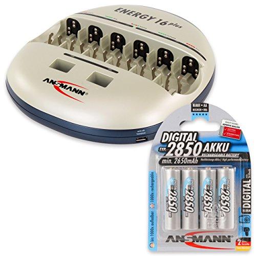 ANSMANN Energy 16 Plus Akku Ladegerät - Ladestation für AAA, AA, C, D, 9V E-Block & USB - Schnellladegerät als Pflegestation & Kapazitätstester mit Refresh Funktion - inkl. 4x Mignon AA NiMH Akkus (Akku-ladegeräte Aa-aaa-c-d)