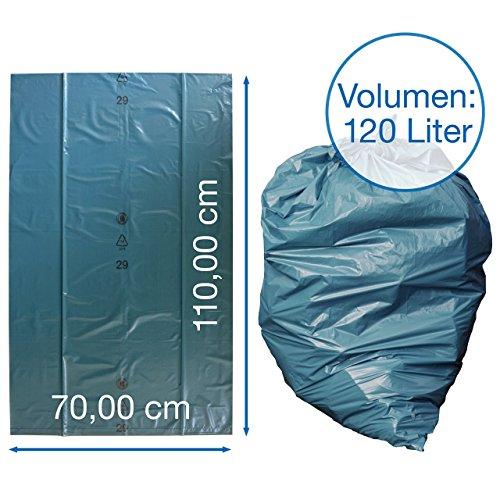 iLP Bolsas de basura 120 L – gran resistencia al desgarro – rollo de 25 – Tipo 100 extra – Sacos de basura XXL bolsas de basura – 70 μ – 700x1100 mm – LDPE – recogida de basuras perfecta para hogar  jardín  industrias  obra – azul