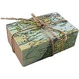 AerWo Favores del partido con 50pcs, cajas del caramelo de Kraft con la cuerda de arpillera elegante, mapa del mundo imprimieron el bolso del regalo del favor de partido de la decoración de la boda