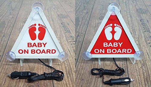 Set 2 Stück 12V LED Leuchtschild BABY ON BOARD Auto Weiß Rot Licht Neon Schild Heckscheibe Kind Schutz Leuchtschilder SICHTBAR VON LANGER DISTANZ - Zwei Licht-schild