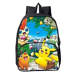 Mochila Pokemon para niños, Adolescentes y niñas, 3D Galaxy, Detective Pikachu Eevee, Mochila para portátil, Mochila de Viaje Ligera para Adultos 4 Talla única