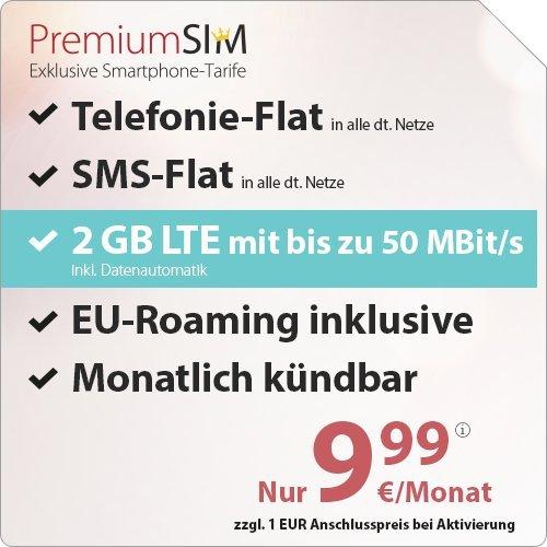 PremiumSIM LTE 2000 [SIM, Micro-SIM und Nano-SIM] monatlich kündbar (2 GB LTE mit max. 50 MBit/s inkl. Datenautomatik, Telefonie-Flat und SMS-Flat, EU-Roaming inklusive, 9,99 Euro/Monat)