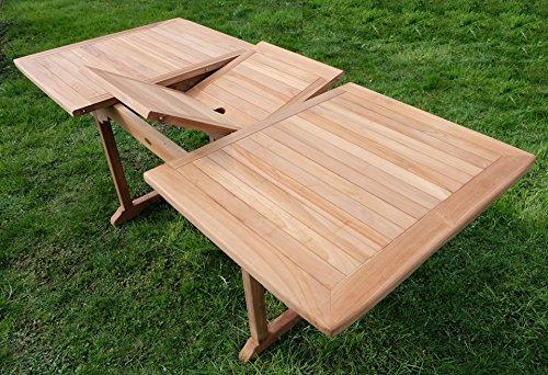 Edle TEAK XXL Gartengarnitur Gartenset Sitzgruppe Gartenmöbel Ausziehtisch 150-200cm + 4 Sessel + Gartenbank 'ALPEN' Holz geölt von AS-S - 8