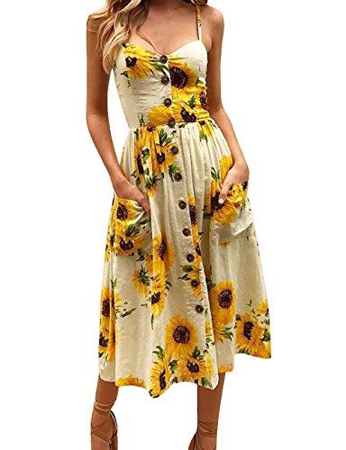 Yieune Sommerkleid Damen Strandkleid Ärmellos Blumenmuster Trägerkleid Knielang Abendkleider Sexy Partykleid Cocktail Kleid (Gelb XL) -