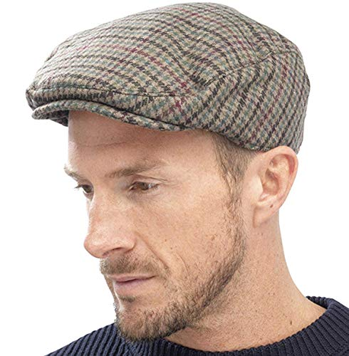 Tom Franks Herren Kariert Wollmischung Tweedkappe Flach - Grün, L/XL