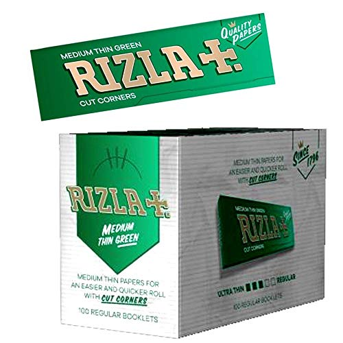 Rizla Green Cigarette Papers, 100Pks/Box, Medium Weight Paper by Tobacco Heaven