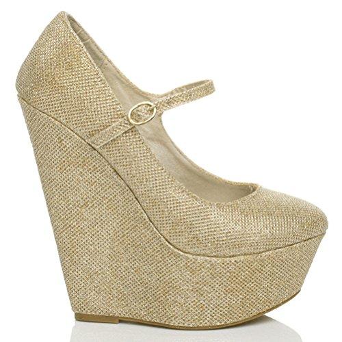Scarpe donna stile mary jane tacco alto zeppa plateau punta arrotondata numero Brillio lustrini oro