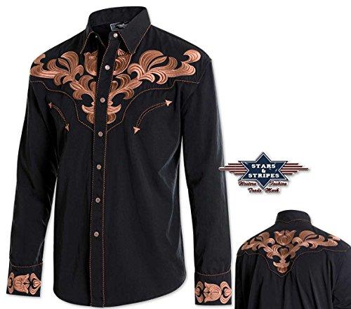 """Klassiches Westernhemd """"HARVEY"""" Herrenhemd Westernstyle v. Stars&Stripes Schwarz"""