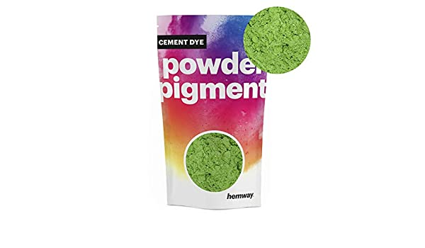 Hemway Cement Dye Powder Pigment Concrete Color Render Mortar Pointing Powdered Brick Toner Plaster 50g // 1.75oz, Metallic Apple Green