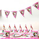 Nighteyes66 Unicorn Theme Party Favours Supplies Decoration Happy Birthday Cake Topper Triangle Flag Banner Paper Cup Plate Hat Box