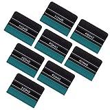 FOSHIO Black Card Squeegee avec Green Micro-Fiber Felt Edge 4 inch Car Vinyl Installation De L'Outil Pratique pour L'Enveloppement Auto Vinyle, Pack-8