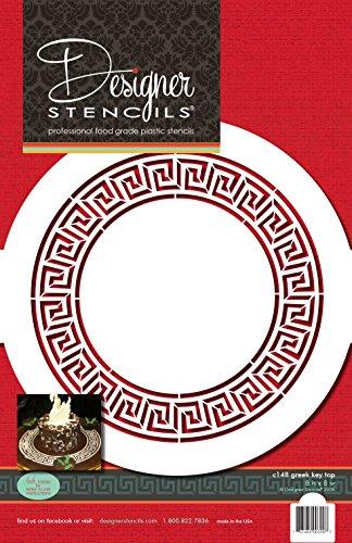 Designer Schablonen C148Griechischer Schlüssel Kreis Kuchen Schablone, beige/Halbtransparent