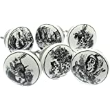 Mixed Set of 6 'Alice in Wonderland' Shabby Chic Vintage Style Ceramic Cupboard Knobs (MG-28) - 'Mango Tree' TM Registered Product