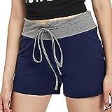 CoolsterFrauen-zufälliger sexy Trainings-Yoga-heiße Kurze Hosen-Tunnelzug-Kurze Hosen (blau, L)