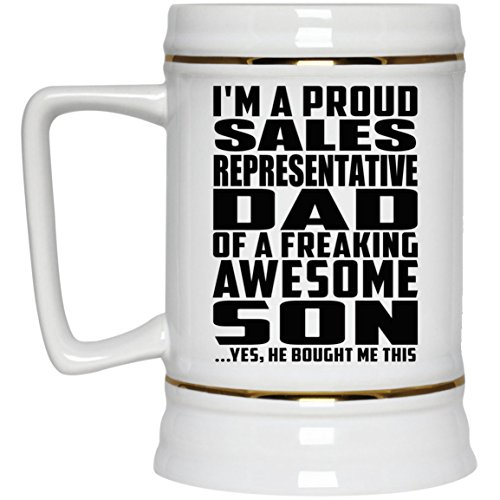 Im A Proud Sales Representative Dad Of A Freaking Awesome Son, He Bought Me This - Beer Stein Bierkrug Keramik Bierhumpen Bar Becher Kneipenkrug - Geschenk zum Geburtstag Jahrestag Muttertag Vaterta Sale Vintage Milk Glass