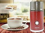 NANXCYR Mini Macchina da caffè Macinacaffè Espresso Caffettiera Laminatoio in Acciaio Inox Macinacaffè Chicco di caffè 75g capacità, 180w, Rosso