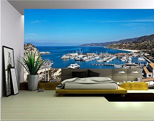 Lwcx 3D Wallpaper benutzerdefinierte Wandbild Non-Woven Wall Sticker 3D-Mittelmeer Golf Yachtcharter Landschaft Malerei Foto 3D Wandbilder Tapeten G 400X280CM