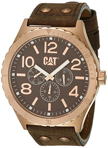 Caterpillar Mens Brown Leather Day & Date Seconds Sub Dial Watch NI.199.35.939
