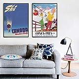 liwendi Faire du Ski Au Canada en Suisse avec des Affiches Imprimées Vintage Italy France Wall Voyage Art Déco 30 * 40Cm * 2...